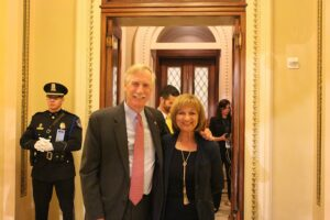 Senator King (ME) and Kathie Leonard (AMI) outside the House Chamber.